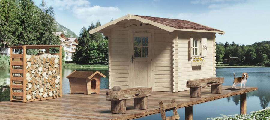 casetta di legno rustica su pontile al lago