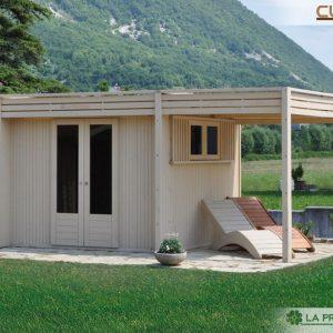 casetta da giardino moderna con tettoia