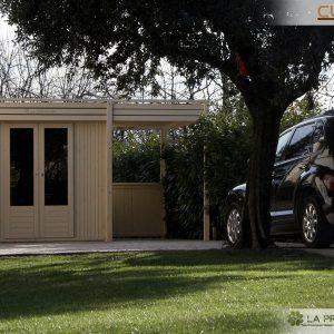 casetta da giardino moderna con tettoia laterale