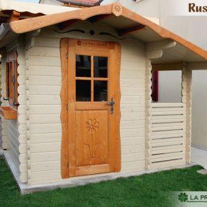 casetta in legno 200x250 porta finestra laterale colorata con tettoia