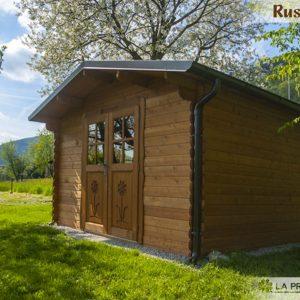 casetta in legno 3x3 porta doppia noce