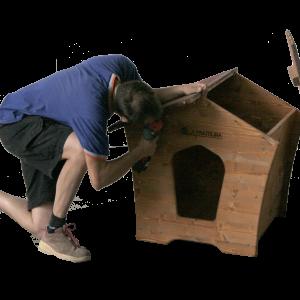 montaggio cuccia per in legno tetto