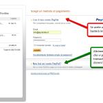Selezionare o l'accesso al vostro account Paypal (freccia rossa), o continuare da utente non iscritto(freccia verde).