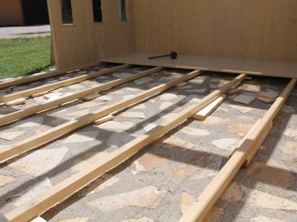 In questa foto la base della casetta è stata portata a livello con dei tasselli di legno, per eliminare l'irregolarità del terreno sottostante. Sconsigliamo questa soluzione, e vi invitiamo a realizzare un basamento a bolla.
