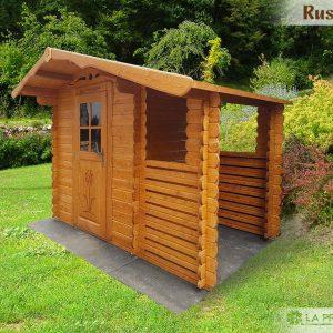 Casetta con tettoia laterale e paratie per contenimento legna o per nascondere e proteggere eventuali