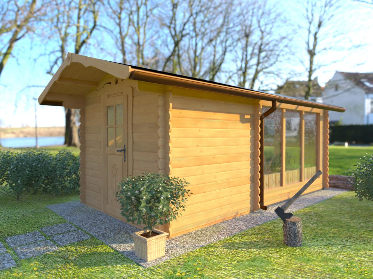 Casetta di legno con serra in policarbonato