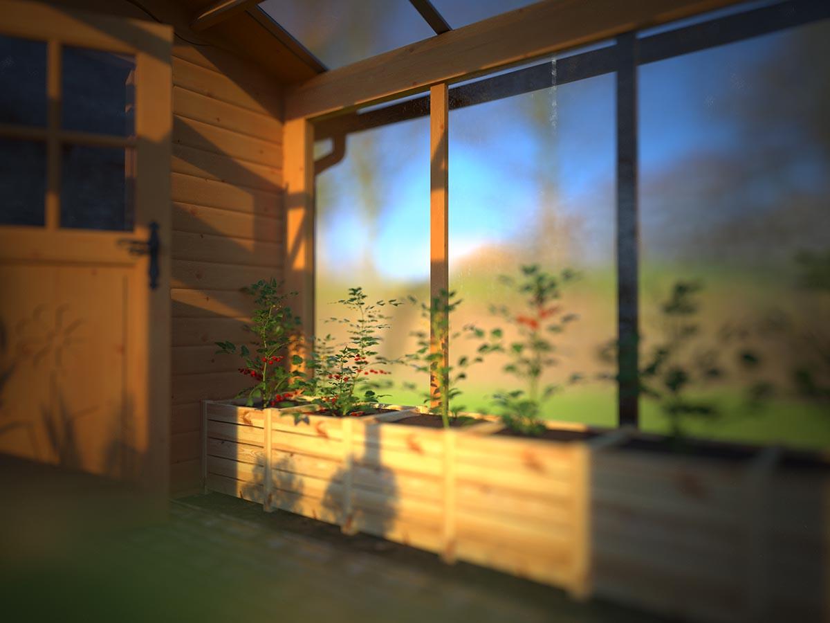 Orto in serra di legno